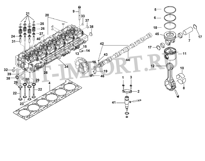Головка цилиндров, поршень, шатун, газораспределительный механизм PP40388
